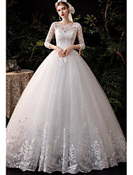 cheap -Princess Ball Gown Wedding Dresses Jewel Neck Floor Length Lace 3/4 Length Sleeve Formal Romantic Sparkle & Shine with Pleats Appliques 2021