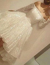 cheap -Ball Gown Wedding Dresses Off Shoulder Knee Length Sequined Long Sleeve Simple Sparkle & Shine 1950s Cute with Pleats 2021