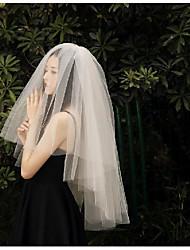 cheap -Two-tier European Style Wedding Veil Elbow Veils with Trim Tulle