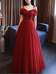 cheap -A-Line Glittering Elegant Engagement Prom Dress Spaghetti Strap Sleeveless Floor Length Tulle with Bow(s) Pleats 2021