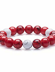 cheap -handmade 10mm round natural semi precious gemstone beaded stretch ornament bracelets (red & white turquoise)