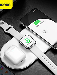 cheap -Baseus 3 in 1 18W Qi Wireless Charger Fast Wireless Charging Pad Earbuds Charger Watch Charger For iPhone 12 AppleWatch Series 6 5 4 3 2 Samsung Galaxy Note 20 S20
