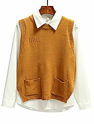 cheap -women's sleeveless sweaters vest v neck pullover casual knit top khaki