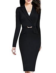 cheap -women elegant long sleeve office a-line peplum bottom dress with belt black xl