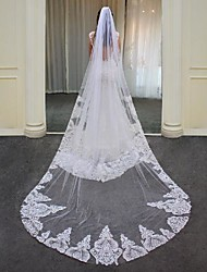 cheap -One-tier Elegant & Luxurious / Lace Wedding Veil Cathedral Veils with Beading Lace / Tulle