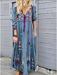 cheap -Women's Swing Dress Maxi long Dress Red Brown Gray Light Blue Long Sleeve Floral Lace up Print Fall Spring V Neck Boho 2021 S M L XL XXL 3XL 4XL 5XL
