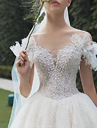 cheap -Princess Ball Gown Wedding Dresses Scoop Neck Chapel Train Lace Short Sleeve Formal Luxurious with Beading Appliques 2021