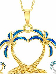 cheap -created blue/white opal heart shaped palm tree silver/14k gold/14k rose gold plated sterling silver pendant 18'' necklace jewelry for women or teens