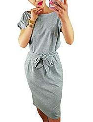 cheap -women's elegant wear to work casual pencil dress with belt - grey - medium