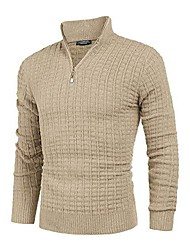 cheap -men's long-sleeved knitted sweater golf sweatshirt men's  sweater with stand-up collar and zipper winter knitted sweater made of a  mix