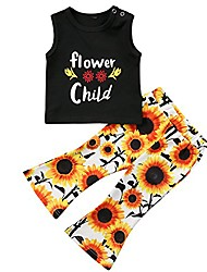 cheap -2 pcs/set toddler baby girl clothes flower t-shirt tops sunflower leggings pants outfit (black, 2-3 years)