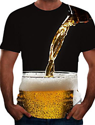 cheap -Men's Graphic 3D Beer Plus Size T shirt Short Sleeve Going out Tops Basic Round Neck Black