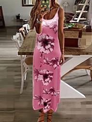 cheap -Women's Swing Dress Maxi long Dress - Sleeveless Floral Print Summer V Neck Plus Size Hot Casual Beach vacation dresses 2020 Blue Purple Blushing Pink Fuchsia Green Gray S M L XL XXL 3XL 4XL 5XL