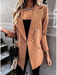 cheap -Women's Double Breasted Peaked Lapel Blazer Solid Colored White / Black / Khaki S / M / L