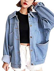 cheap -unknown ladies girls denim jacket denim jacket bf loose jeans coat spring autumn (l (shoulder45.5cm, dress length59cm))