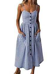 cheap -women's sexy strappy holiday dresses ladies button pocket summer beach midi swing sun dress blue