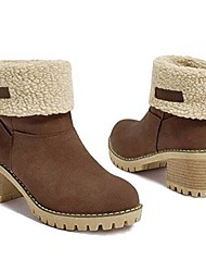 cheap -deals warm square heeled boots - ankle booties for winter (7, beige)