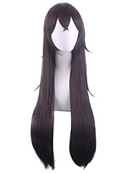 cheap -Cosplay Wig Amber Straight With Bangs Wig Long Dark Brown Synthetic Hair 32 inch Women's Anime Fashionable Design Cosplay Brown