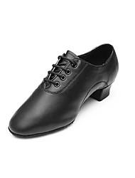 cheap -Men's Dance Shoes Latin Shoes Ballroom Shoes Sneaker Split Sole Chunky Heel Black Lace-up Kid's / Performance / EU43