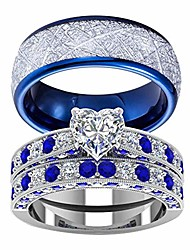 cheap -rings his hers couples matching rings women's  white gold filled heart cz wedding engagement ring bridal  men's stainless steel wedding band