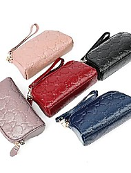 cheap -Women's Bags Cowhide Wallet Zipper Print Plain 2021 Daily Date Black Purple Blushing Pink Dark Red