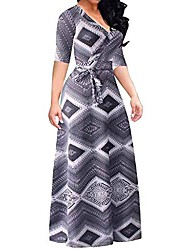 cheap -women's elegant printed half sleeve maxi dresses, ladies summer fashion high waist long dress for evening party, uk plus size 18-28 (gray, uk 28)