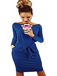 cheap -women's elegant long sleeve wear to work casual pencil dress with belt blue-s