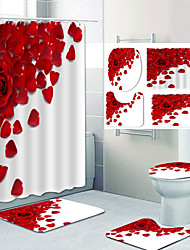 cheap -Bathroom Shower Curtain Set Rose Pattern Polyester Material New Design Include Bathtub Curtain and Mats 4pcs