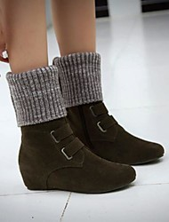 cheap -Women's Boots Wedge Heel Round Toe Classic Daily Walking Shoes Nubuck Buckle Solid Colored Black Army Green / Mid-Calf Boots