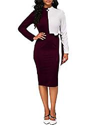 cheap -women dresses long sleeve color block slim bodycon office midi dress burgundy l