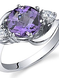 cheap -3 stone design 1.75 carats amethyst ring in sterling silver size 7