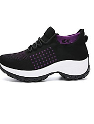 cheap -Women's Trainers Athletic Shoes Sneakers Round Toe Sporty Casual Basic Daily Walking Shoes Knit Tissage Volant Black / Red Purple Blue