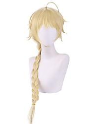 cheap -Cosplay Wig Straight Braid With Bangs Wig Long Blonde Synthetic Hair 24 inch Women's Anime Cosplay Easy to Carry Blonde