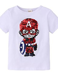 cheap -Kids Boys' Basic Solid Colored Sequins Short Sleeve Tee White