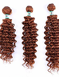 """cheap -deep curly weave bundles hair extension mixed lengths-16 18 20inch-30#red brown (color : brown, size : 16""""-18""""-20"""")"""