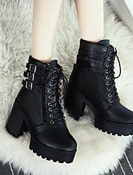 cheap -Women's Boots Platform Chunky Heel Round Toe Mid Calf Boots Booties Ankle Boots Classic Roman Shoes Daily Outdoor PU Buckle Solid Colored Winter White Black / Mid-Calf Boots