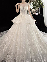cheap -Princess Ball Gown Wedding Dresses Jewel Neck Chapel Train Lace Tulle Cap Sleeve Formal Luxurious with Ruffles 2021