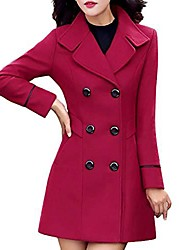 cheap -women's fashion faux fur lapel double-breasted thick wool trench coat jacket red