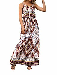 cheap -holiday beach summer ladies print dresses floral boho vintage maxi dress sleeveless v-neck festival spaghetti-length ethnic style party dress (color : rot, size : xl)