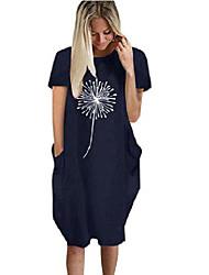 cheap -Women's Plus Size Print Pocket Casual Short Sleeve Summer Knee Length Dress A-Line Dress / Loose