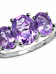 cheap -3.17ct. 3 stone natural oval shape amethyst silver ring size 10