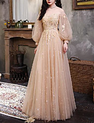 cheap -A-Line Luxurious Floral Engagement Prom Dress Scoop Neck 3/4 Length Sleeve Floor Length Tulle with Beading Appliques 2020