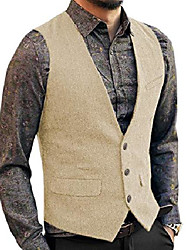 cheap -casual mens vest suit vest slim fit wool herringbone tweed business suits vests wedding best man party champagne, xl