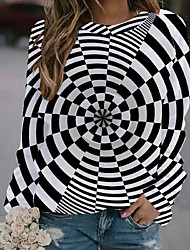 cheap -Women's Pullover Sweatshirt Optical Illusion Print Party Daily Active Party Hoodies Sweatshirts  Loose Black