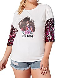 cheap -Women's Plus Size Blouse Portrait Sequins Patchwork Round Neck Tops Basic Top