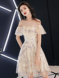 cheap -A-Line Sparkle Elegant Party Wear Wedding Guest Dress Off Shoulder Short Sleeve Knee Length Sequined with Crystals Sequin 2020
