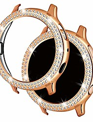 cheap -compatible for samsung galaxy watch active 2 screen protector, case with doulbe rows rhinestones bling crystal diamonds plate face case cover frame bumper 44mm/40mm, (rose gold, 40mm)