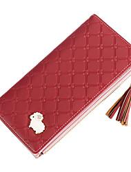 cheap -Women's Bags PU Leather Wallet Tassel Zipper Plaid Checkered Animal 2021 Shopping Daily Black Blue Purple Red