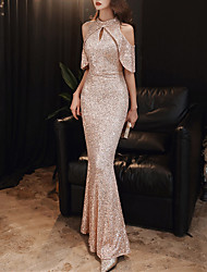 cheap -Mermaid / Trumpet Sparkle Sexy Engagement Formal Evening Dress Halter Neck Sleeveless Floor Length Sequined with Sequin 2021