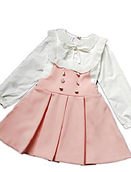 cheap -autumn kids girls party dress sets white long sleeve korean blouse +suspender skirt pink 140(9-10y)